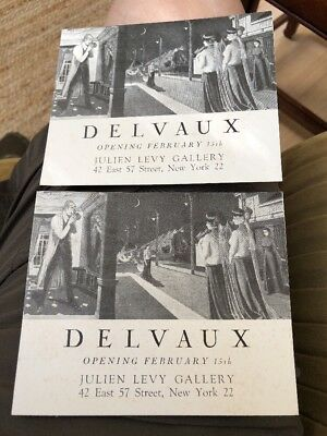 1940's Julien Levy Exhibition Announcements For Paul Delvaux Belgian Surrealist