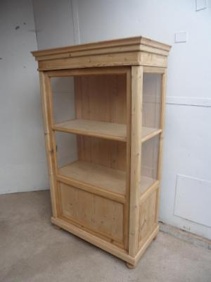 A Delicate Early Victorian Glazed Antique/Old Pine Display Cabinet to Paint/Wax