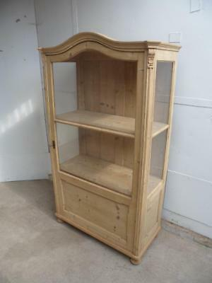An Arch Top Early Victorian Glazed Antique/Old Pine Display Cabinet to Paint/Wax