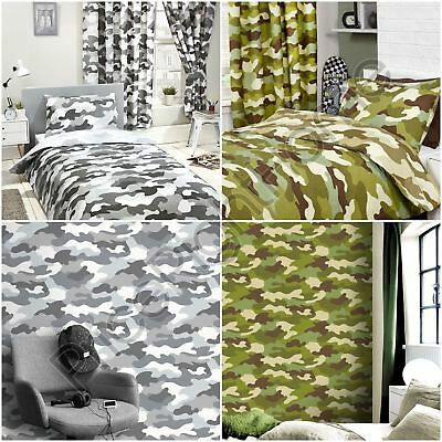 Army Camouflage Green Grey Duvet Cover Set / Fitted Sheet / Curtains / Wallpaper