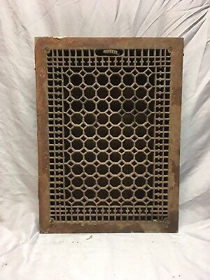 Antique Cast Iron Heat Grate Vent Register Old Vtg Honeycomb 20x14 425-18E