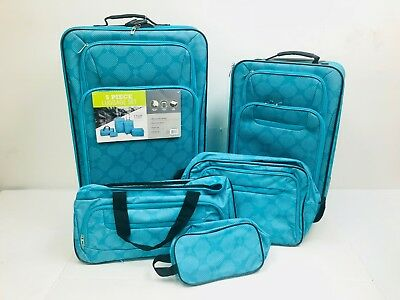 5 Piece Luggage Travel Set Expandable Upright Duffel Flight tote Toiletry kit