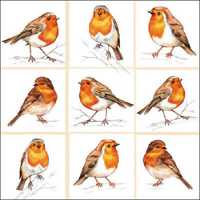 Ambiente 3 Ply Paper Napkins, Robin Family Christmas Decor Tableware Serviettes