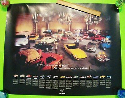 "2002 NISSAN DLR 65-YEAR ANNIVERSARY POSTER 30"" X 24"" 240Z Fairlady Roadster 4X4s"