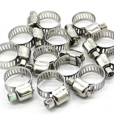 """10Pcs 3/8""""-5/8"""" Adjustable Stainless Steel Drive Hose Clamp Fuel Line Worm Clip"""
