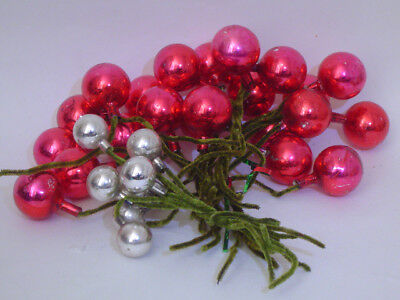 30 Vintage Chenille Red & Silver Bulb Christmas Package Ornament Tie Ons