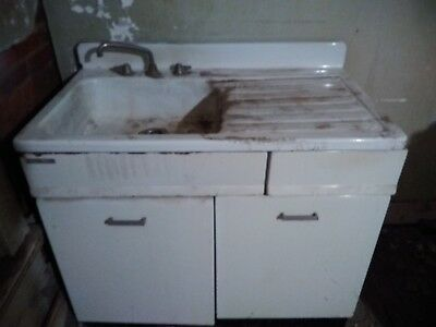 "Vintage Kitchen Sink Cabinets & Faucet 42""W x 25 1/2""D x 40""H Pick Up Ohio 45331"