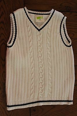 *CRAZY 8* Boys EASTER DRESSY White Cable Knit Sweater Vest Size 3 yrs