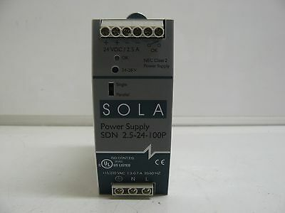 NEW SOLA SDN 2.5-24-100P POWER SUPPLY 115/230 VAC 1.3-0.7 A 50/60 Hz 24VDC 2.5 A