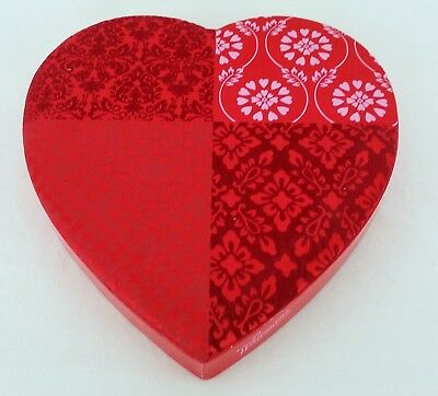 Whitmans Valentines Day Candy Box Heart Shaped Red Patchwork Fabric 11x11.75