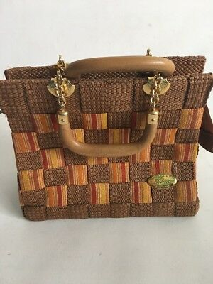 VINTAGE ITALIAN  WOVEN STRUCTURED BAG WITH WOOD Leather And Chain Handles