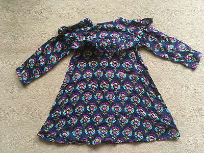 BNWT NEXT Girls Navy Blue Magenta Teal Floral Long Sleeved Dress 2-3 Years