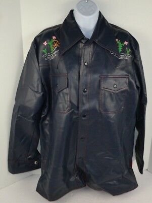Vtg 70s Western Style Embroidered CHUCK WAGON Faux Leather Jacket Blue S M L