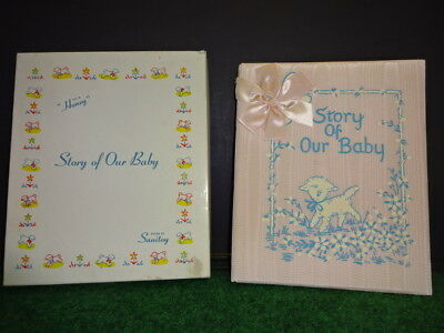 VTG Pink Baby Book Never Used 1949 GORGEOUS w box Story of Our Baby Sanitoy