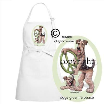 Airedale Terrier Dog Cartoon Caricature Dogs Give Me Peace Kitchen Chef Apron