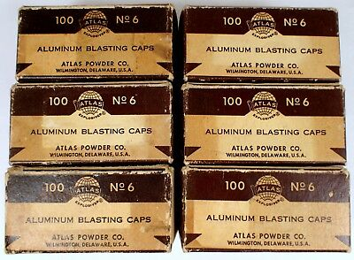 6 Vtg ATLAS POWDER BLASTING CAPS Paper BOX Explosive Wilmington DE Mining EMPTY