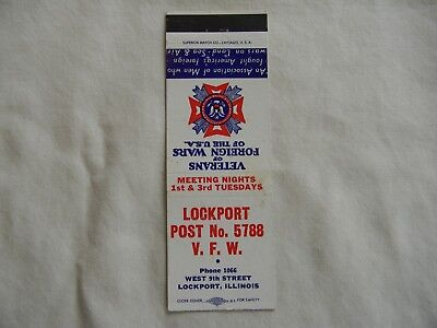 Lockport Illinois Will County V.F.W. military veterans low# phone 1066 matchbook