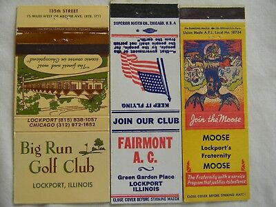 Lockport Illinois Will County businesses matchcovers matchbooks