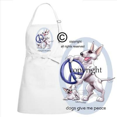 Bull Terrier Dog Breed Cartoon Caricature Dogs Give Me Peace Kitchen Chef Apron