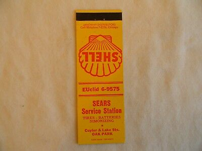 Oak Park Illinois Shell gas service station low # matchcover matchbook