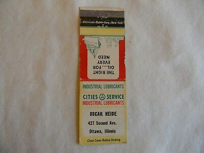 Ottawa Illinois La Salle County Cities Service industrial lubrication matchbook