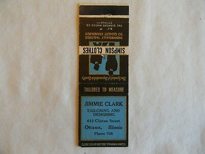 Ottawa Illinois LaSalle County men's clothing tailoring low# phone 708 matchbook