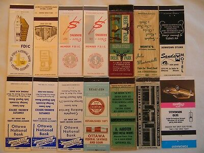 Ottawa Illinois LaSalle County businesses matchcovers matchbooks
