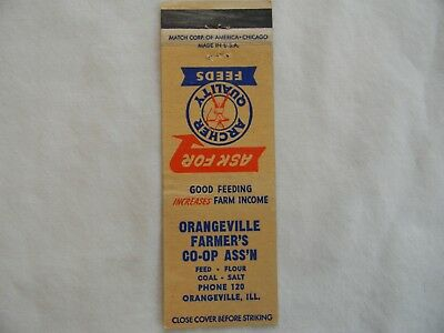 Orangeville Illinois Stephenson County farm feed coal low # matchcover matchbook