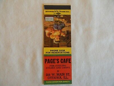 Ottawa Illinois La Salle County cafe low # matchcover matchbook