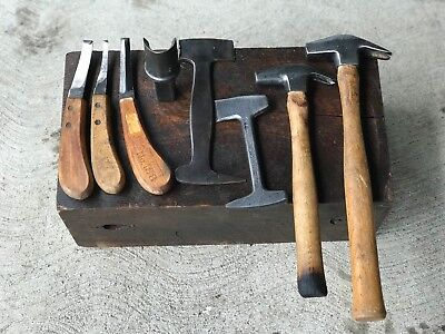 Nice 8 Piece Set Blacksmith Hammers, Farriers Tools, Clinch Cutter, Hardy Anvil