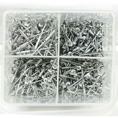 1000 pc Rivet Set Assortment w/ Storage Case Hand Air Riveter Aluminum Blind Pop