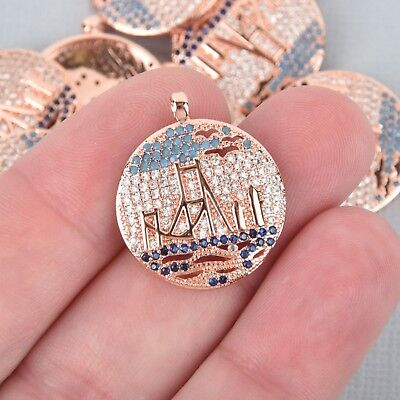 Micro Pave GOLDEN GATE BRIDGE Charm, CZ, Rose Gold Plated Brass chs4900