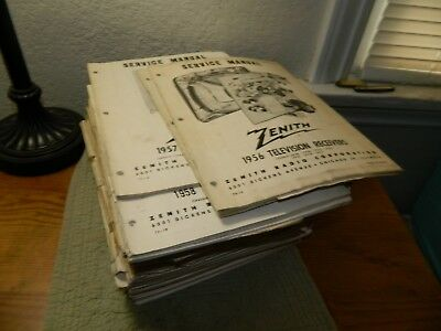 Lot Of 31,vintage 1956-1975 Zenith Television Receivers Service Manuals