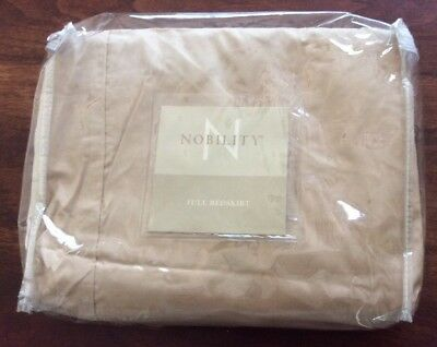"""NIP NOBILITY Full Bed Skirt 54 X 75"""" 100% Cotton Beige Tan Taupe Color 15"""" Drop"""