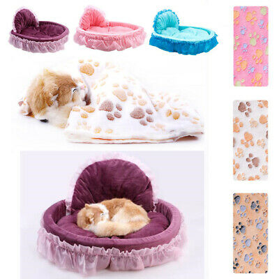 Pet Dog Bed New Stylish Cozy Warm Four Seasons Bow Lace Princess Soft Puppy Bed