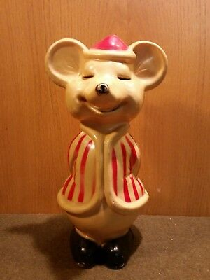 """RARE Vintage Mouse Christmas Blow Mold RED Striped Coat Union Product 15"""""""
