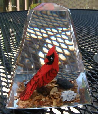 Vintage Large Lucite Paperweight HandCarved Red Cardinal Songbird Made in Canada