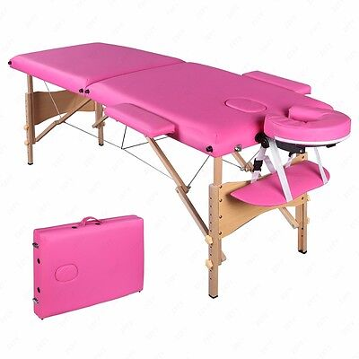 "84""L Portable Pink Fold Massage Table Facial SPA Beauty Bed Tattoo Carry Case"