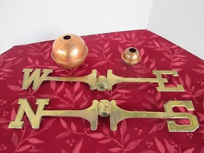 VINTAGE BRASS 18 1/2  WEATHERVANE DIRECTIONAL SET W/ Copper Balls
