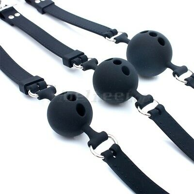 Full Silicone Breathable Open Mouth Gag Adjustable Lockable Belt Couples Game