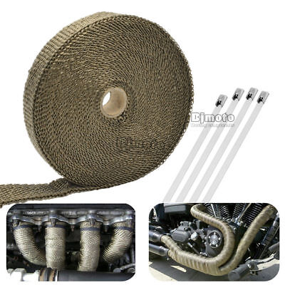 15M 50Ft Cable Pipe Tape Wrap Roll Exhaust Heat Manifold Header + 6 Ties Kit TI