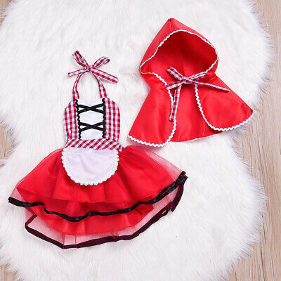 Baby Girls Little Red Riding Hood Halloween Party Fancy Dress Cloak Costume Set