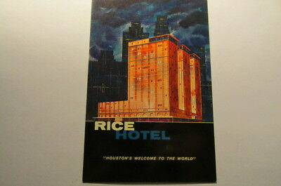 Vtg Chrome Postcard RICE HOTEL Houston's Welcome to the World TX P34
