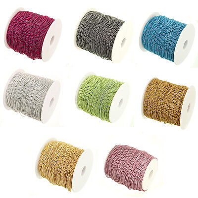 13Colors Plated Cable Open Link Metal Chain Jewelry Making DIY Craft 2/5/10/100M