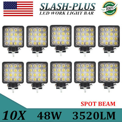 10X 48W LED Work Light SPOT Driving Off-Road ATV Car Boat Truck Lamp 12V 24V 5D+
