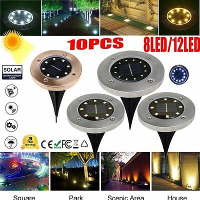 10Pcs 12LED Solar Power Buried Light Under Ground Lamp Outdoor Path Way Garden