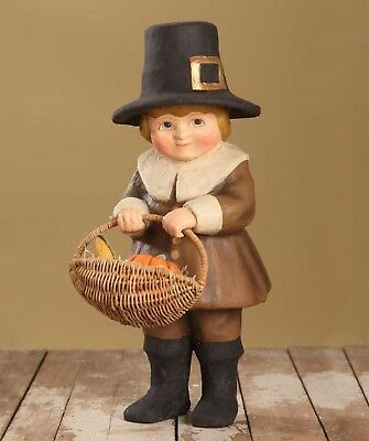"Bethany Lowe Thanksgiving Large 17 1/2"" Paper Mache Pilgrim Boy TJ6244 New"