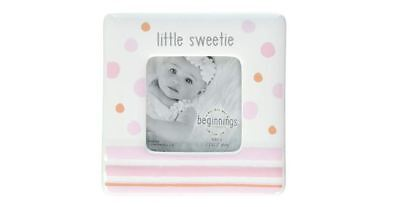 NEW Enesco First Little Sweetie Baby Girl Pink White Picture Photo Frame 2-Pack