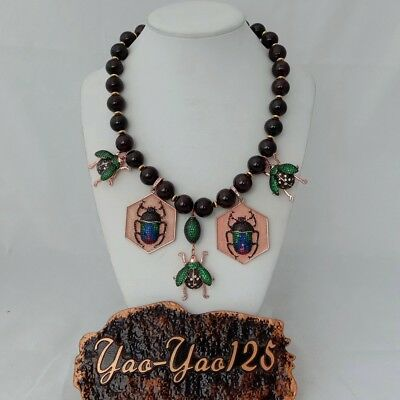 """18"""" Red Garnet Cz Pave Insect Statement Necklace"""