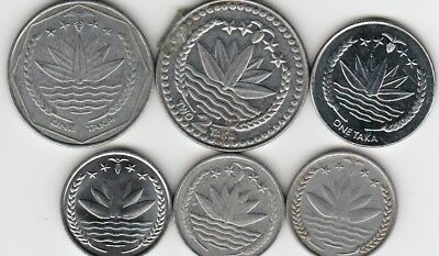 6 different world coins from BANGLADESH